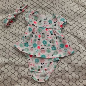 Teal & Coral Flowers Onesie with Skirt by Carter's